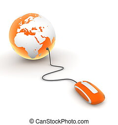 orange translucent computer mouse connected to a orange glossy globe