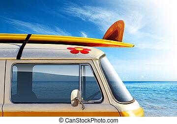 Surf Van - Detail of a vintage van in the beach, with a...