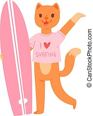 Surf vector cat animal surfer character surfing on surfboard illustration animalistic cartoon young sportsman kitty girl and on wakeboard isolated on white background