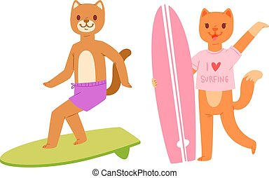 Surf vector cat dog animal surfer character surfing on surfboard illustration animalistic set of cartoon young sportsman kitty girl and doggy boy on wakeboard isolated on white background