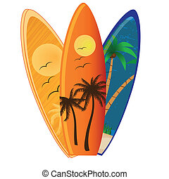 surf - three different surfboards with different textures...