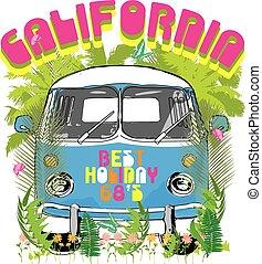 surf, vectors, furgone, illustrazione, tipografia, t-shirt, grafica