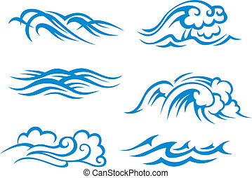 Sea and ocean surf waves set for design