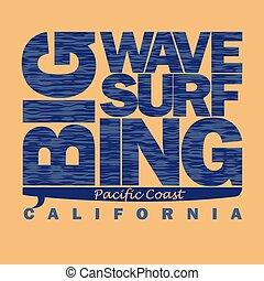 surfa, kalifornien, kust, t-shirt, grafisk, surfbo, fridsam, design.