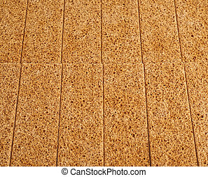 Surface covered with bread cracker snacks