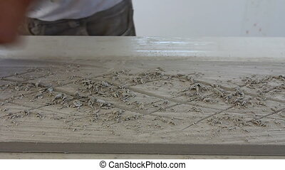 Surface finish on the back side, gypsum decoration - Worker...