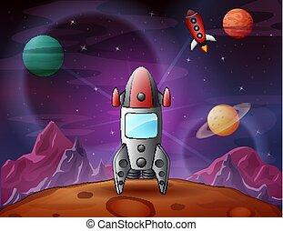 surface, lune, fond, débarqué, vaisseau spatial, planètes