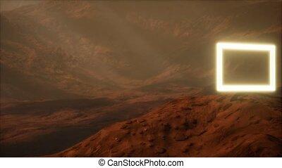 surface, mars, néon, souffler, planète, portail, poussière