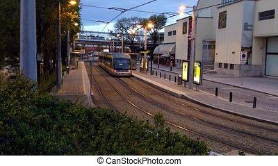 Surface metro station at night
