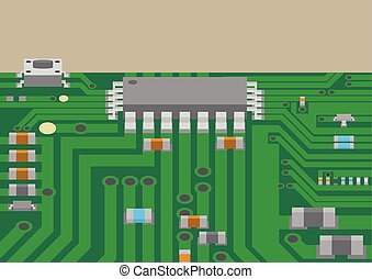 Surface mount technology printed circuit board - Vector...