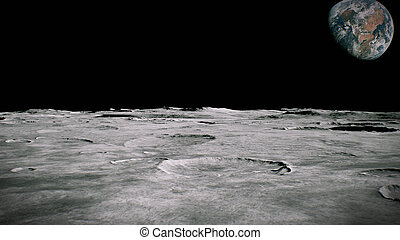 Surface of the Moon landscape. Flying over the Moon surface. Close up view.