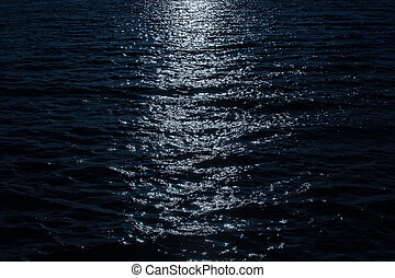 surface of the water at night in the moonlight