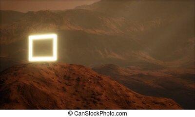 surface, planète, mars, portail, poussière, néon, souffler