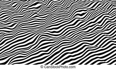 surface., raies, rendering., blanc, moderne, 3d, arrière-plan noir, boucle, isométrique, onduler, animation.