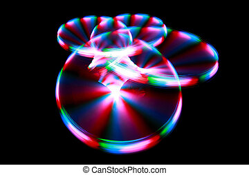 Surface with light painting streaks during rotation