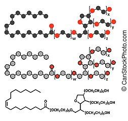 surfactant, utilizado, alimento, emulsifier, molecule., medicines., polysorbate, (e433), cosméticos, 80
