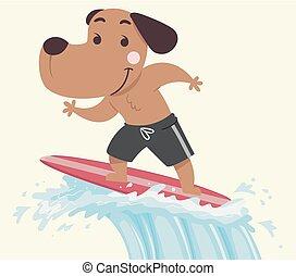 surfando, cão, ilustração