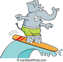 surfando, caricatura, elefante