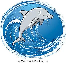 surfando, golfinho