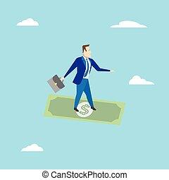 surfando, homem negócios, negócio, concept., vetorial, dollar., illustration.