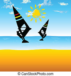 surfando, mar, ilustração