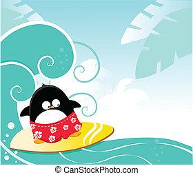 surfando, pingüim