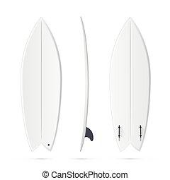 surfando, surfboard, peixe, -, vetorial, tábua, modelo,...