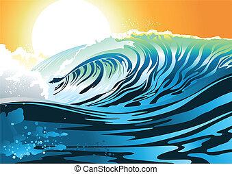surfar, amanhecer, onda