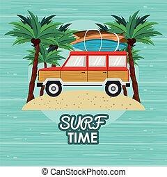 surfar, caricatura, tempo