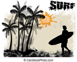surfar, cartaz, fundo