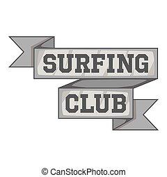 surfar, cinzento, estilo, emblema, clube, ícone, monocromático