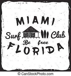 surfar, clube, concept.