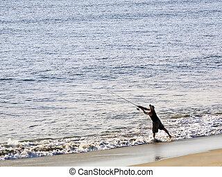 surfar, elencos, pescador