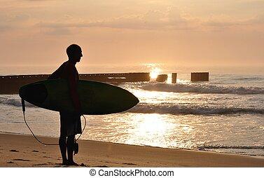 surfar, em, amanhecer