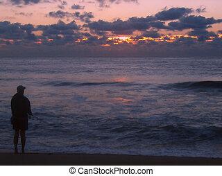 surfar, fishin, amanhecer