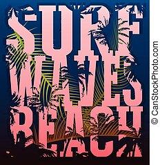 surfar, grunge, bandeira, cartaz, voador, cartão postal, surfing., tema, ilustração, t-shirt, experiência., tipografia, vetorial, gráficos, impressão