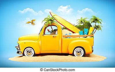 surfar, incomum, palmas, viagem, areia, ilustração, caminhão camionete, trunk.