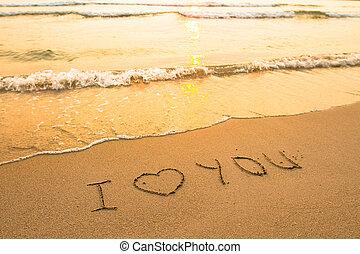 surfar, inscrição, amor, -, wave), areia, (soft, tu, praia