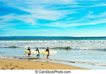 surfar, ir, surfistas