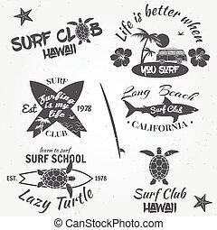 surfar, jogo, illustration., elements., clube, vindima, etiquetas, labels., vetorial, desenho, retro, emblemas
