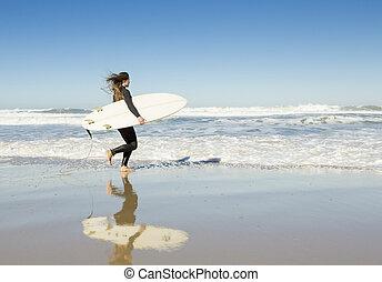 surfar, menina