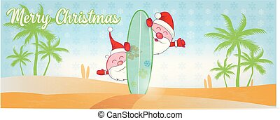 surfar, praia, caricatura, claus, santa, divertimento