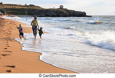 surfar, praia, família