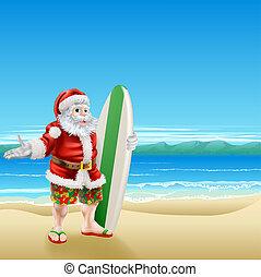 surfar, praia, santa