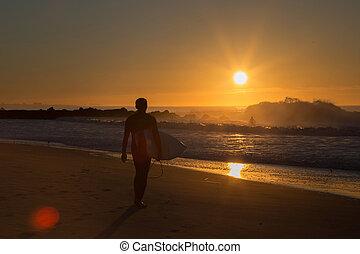 surfar, sessão, amanhecer
