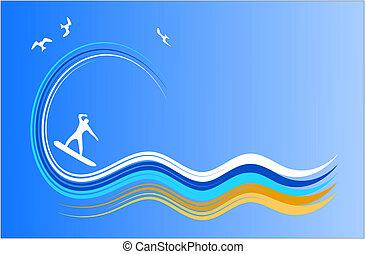surfar, vetorial, ícone