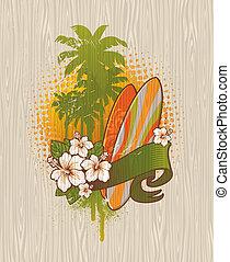surfar, vetorial, emblema, -, ilustração, tropicais, madeira, tábua, quadro