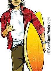 surfboa, proceso de llevar, petimetre, macho, tablista