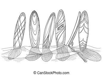 surfboad, in, sabbia, schizzo