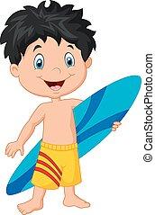 surfboar, mały, rysunek, dzierżawa, koźlę